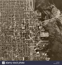 Map Chicago by Historical Aerial Map View Above Chicago Illinois 1952 Stock Photo