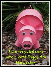 diy pig from recycled cans craftiness craft