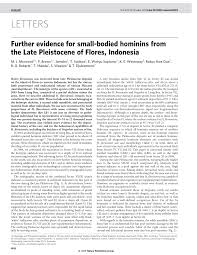 further evidence for small bodied hominins from the late