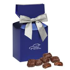 metallic gift box chocolate sea salt caramels in metallic blue gift box mapleridge
