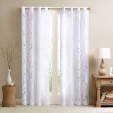 63 White Curtains Park Averil Sheer Bird 63 Inch Grommet Top Window Curtain