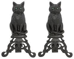 Fireplace Grates Cast Iron by Black Cast Iron Cat And Irons Traditional Fireplace Grates And
