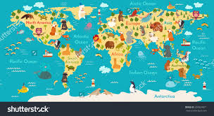 Simple Vector World Map by Animals World Map Australia Australian Animals Poster Australia