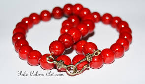 large red bead necklace images 21 red 12mm bead necklace dark red fossil stone necklace red jpg