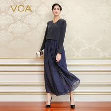 picture of heavy set women in a two piece bathing suit voa autumn long sleeve fake two piece set heavy silk dress high