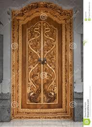 Wooden Door Wooden Door Of An Old Temple With Carvings Indonesia Bali Stock
