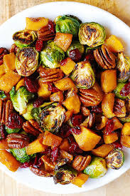 christmas sides recipes roasted brussels sprouts cinnamon butternut squash pecans and
