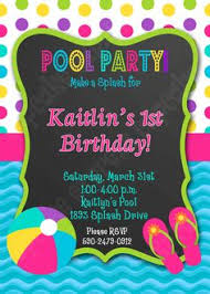 printable pool party invitation girls swimming birthday party