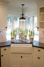 Light Fixture Kitchen by Kitchen Sink Window With Light Fixture Plants Farmhouse Style