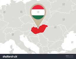 europe highlighted hungary map flag stock vector 234240844