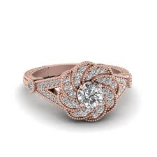 flower engagement rings cut micropave halo flower diamond engagement ring in 18k