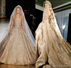 gold wedding dresses stunning elie saab gown lace wedding dress with gold applique