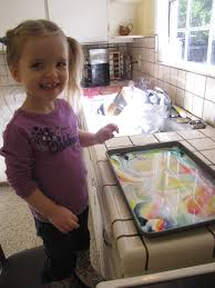 fill sheet pan with milk add drops of food coloring and then