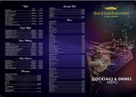 cocktail drinks menu menu u2013 the establishment