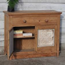 Old Pine Furniture Vintage Old Pine Cupboard With American Tin Ceiling Tile