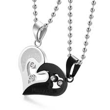 couples necklace evermarker heart necklaces titanium steel evermarker