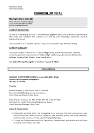 career objective for mechanical engineer resume cv electrical engineer ismail1 2 1