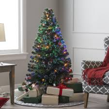 Christmas Livingroom 5 Ft Fiber Optic Evergreen Led Christmas Tree With 16 In Stand