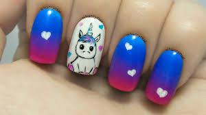 cute unicorn freehand nail art tutorial youtube