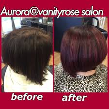 aline bob short haircuts red hair color merced hair salon