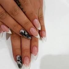 gel nails in almond shape french tips and design nail art
