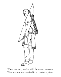thanksgiving coloring pages wanoag with bow and arrows