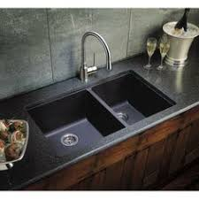 Black Granite Composite Sink With Kohler Oil Rubbed Bronze Faucet - Black granite kitchen sinks