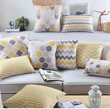 grey and yellow home decor drop ship nordic geometric pillow cover yellow grey cushion cover