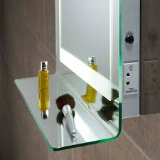 backlit mirror with integrated shelf heated demister and shaver