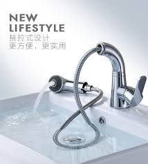 bathroom single lever pull out sink faucet with swivel and height
