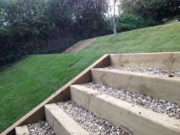 lawn with sleeper steps and gravel landscaping garden ideas