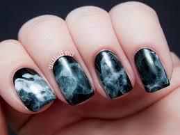 31dc2013 day 07 black and white midnight smoke nail art
