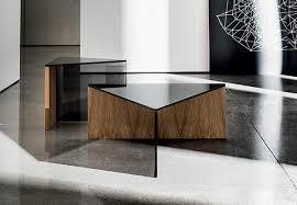 Triangular Coffee Table Regolo Triangular Black Glass Coffee Table Sovet