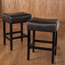 Brown Leather Bar Stool Lopez Backless Brown Leather Counter Stools 2 Pack Hayneedle
