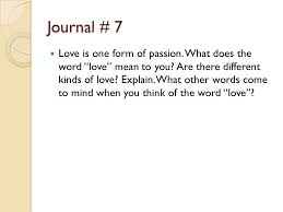 journal 7 is one form of what does the word