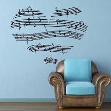 music note home decor 23 4 x 35 1 music notes stave love heart wall decal sticker home