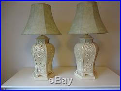 vintage pair pagoda chinoiserie table lamps floral motif asian