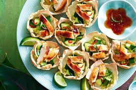 twice cooked honey u0026 five spice chicken wonton cups