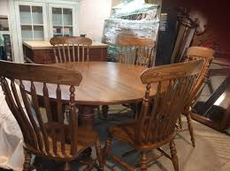 bob timberlake solid oak 60 in round dining table w 6 chairs for
