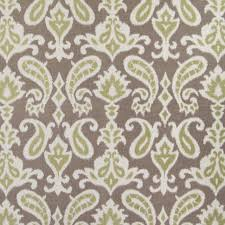 taupe green brown ikat paisley medallion upholstery fabric by the