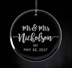 etched glass ornaments personalized engraved mr mrs glass ornament personalized wedding gift