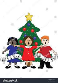 group children singing around christmas tree stock vector 6088552