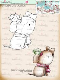 holly xmas dog digi stamp with cat dog and robin