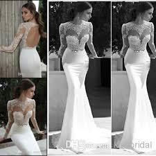 exclusive berta lace mermaid wedding dresses crew neck sheer