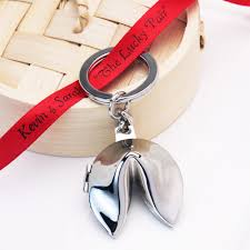 fortune cookie keychain silver plated fortune cookie key chain asian theme wedding