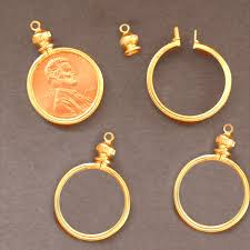 necklace pendant coin images 1 cent usa penny coin holder bezel gold tone for jpg