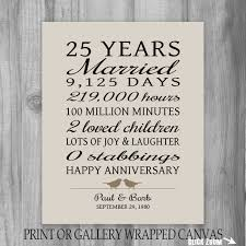 anniversary gifts for parents 25 year anniversary gift 25th anniversary print