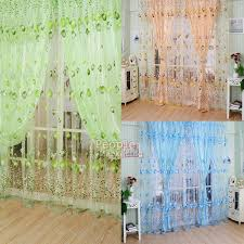 Mint Green Sheer Curtains Floral Tulle Voile Door Window Curtain Drape Panel Sheer Scarf