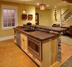 complete rustic kitchen with wooden island plans using stone top