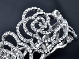 rose rhinestone bracelet images Silver tone clear crystal rhinestone beauty beast rose outline JPG